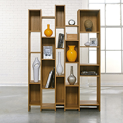 HARVEY PARK WALL SHELVING UNIT-1800(H) X 1212(W) - PALE OAK FINISH