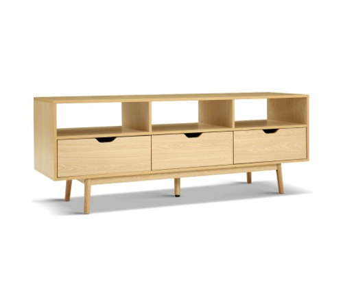 ETINA SCANDINAVIAN ENTERTAINMENT UNIT WITH 3 DRAWERS - 600(H) x 1600(W) - NATURAL