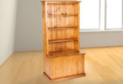 BOOKCASE (AUSSIE MADE) COMBO + FLIP TOP LID - 1820(H) x 920(W) - ASSORTED COLOURS