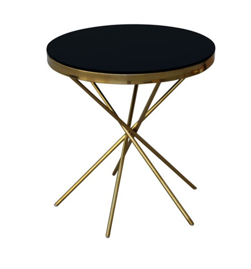 SACSHA ROUND SIDE TABLE - 550(H) X 500(Diam) -GOLD/BLACK
