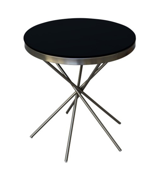 SASCHA ROUND SIDE TABLE - NICKEL / BLACK