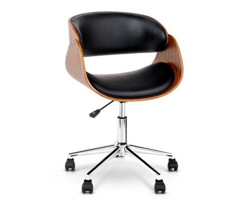 MOSS WINGED  WOODEN & LEATHER OFFICE CHAIR - BLACK & BROWN