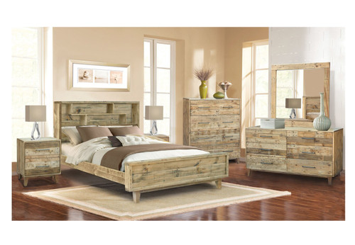 KING LOFTWOOD PANEL BED FRAME - WOOD CRATE