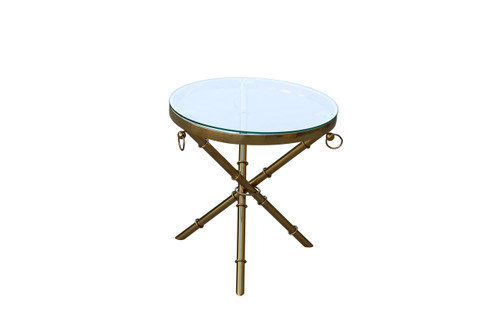 FORUM  ROUND SIDE TABLE - 500(DIAM) - GOLD / CLEAR