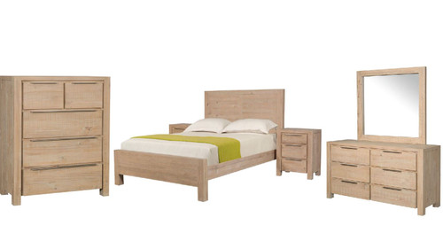 BALLINA  QUEEN   6 PIECE (THE LOT) BEDROOM SUITE - ( WITH PANEL BED)  - EURO BEECH
