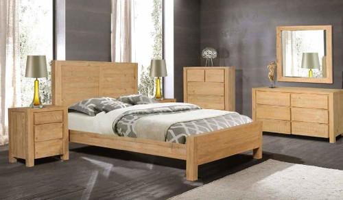 BALLINA  QUEEN   6 PIECE (THE LOT) BEDROOM SUITE - ( WITH PANEL BED)  - EURO BEECH