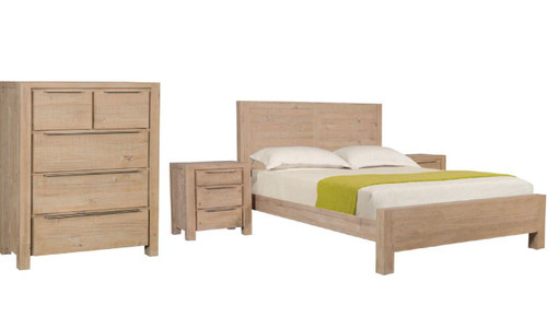 BALLINA  KING  4 PIECE  TALLBOY  BEDROOM SUITE - ( WITH PANEL BED)  - EURO BEECH
