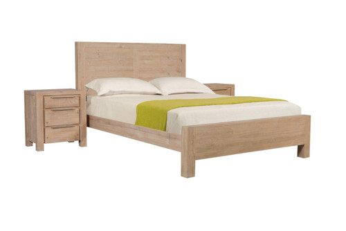 BALLINA  KING  3 PIECE  BEDSIDE   BEDROOM SUITE - ( WITH PANEL BED)  - EURO BEECH
