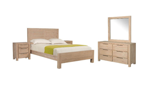 BALLINA  QUEEN   5  PIECE  DRESSER  BEDROOM SUITE - ( WITH PANEL BED)  - EURO BEECH