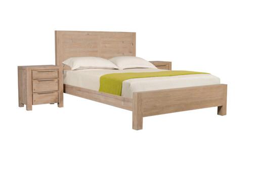BALLINA  QUEEN  3  PIECE  BEDSIDE   BEDROOM SUITE - ( WITH PANEL BED)  - EURO BEECH