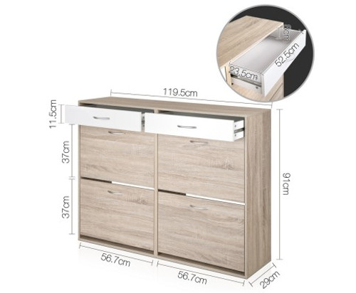 BART 2 TIER SHOE CABINET - TWO TONED FINISH