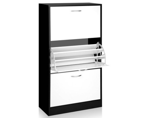 BART 3 TIER SHOE CABINET - WHITE WITH BLACK
