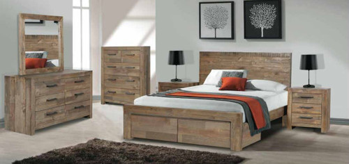 ASTORIA QUEEN 6 PIECE (THE LOT) BEDROOM SUITE - BED WITH 2 DRAWERS - AGED PIER