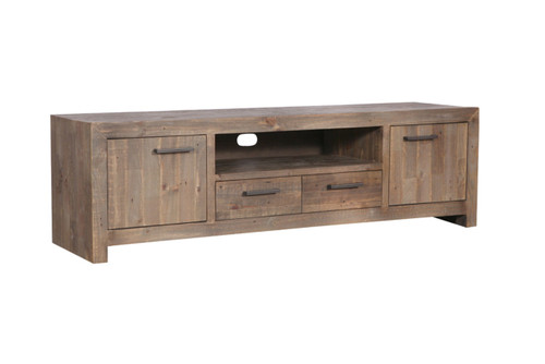 MELROSE LARGE ENTERTAINMENT - TV UNIT WITH 2 DOORS / 2 DRAWERS  - 600(H) X 2130(W)- AGED PIER