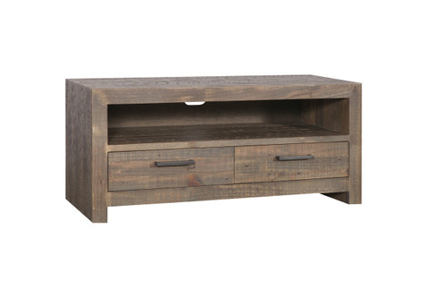 MELROSE  ENTERTAINMENT - TV UNIT WITH 2  DRAWER  - 600(H) X 1340(W) - AGED PIER