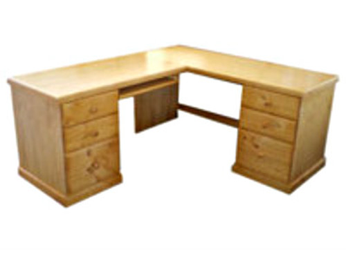 D10 CORNER OFFICE TABLE + 6 DRAWERS (PRICED STAINED) - 1800(W) X 1600(D) -  ASSORTED COLOURS AVAILABLE