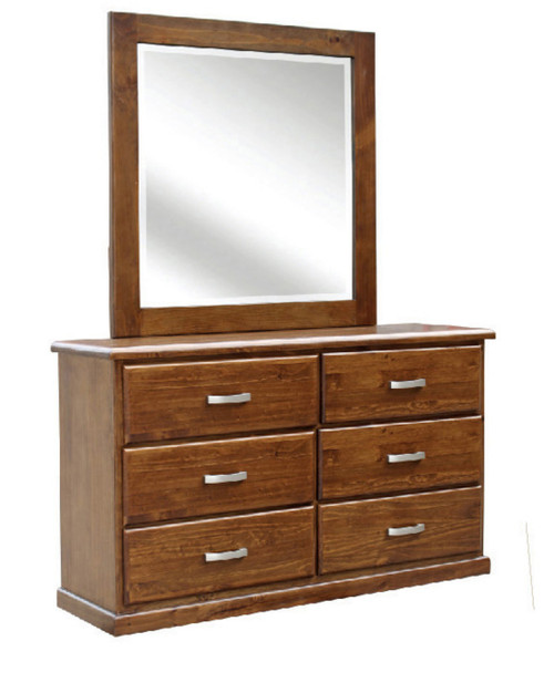 ARIZONA  6 DRAWER  SOLID TIMBER  DRESSING TABLE WITH MIRROR   -  COUNTRY WALNUT