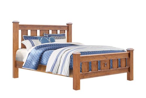 DOUBLE ARIZONA SOLID TIMBER BED - COUNTRY  WALNUT