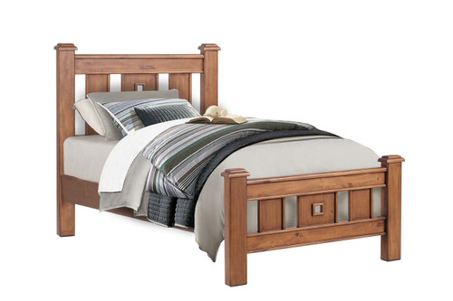 KING SINGLE  ARIZONA  SOLID TIMBER BED - COUNTRY  WALNUT