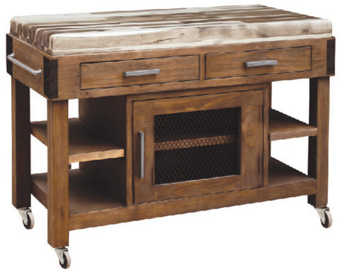 ANTIQUA  2 DRAWER / 1 DOOR WORK BENCH  WITH SHELVES - COUNTRY RUSTIC