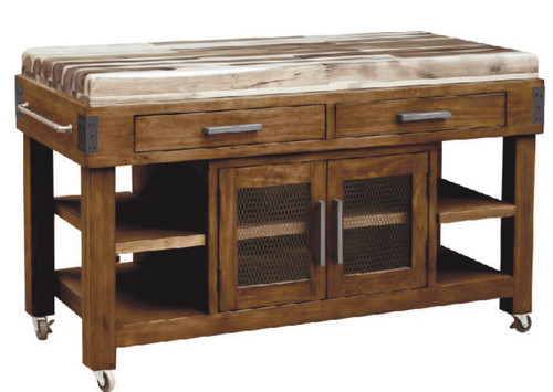 BERLIN  2 DRAWER / 2 DRAWER  WORK BENCH   -  COUNTRY RUSTIC