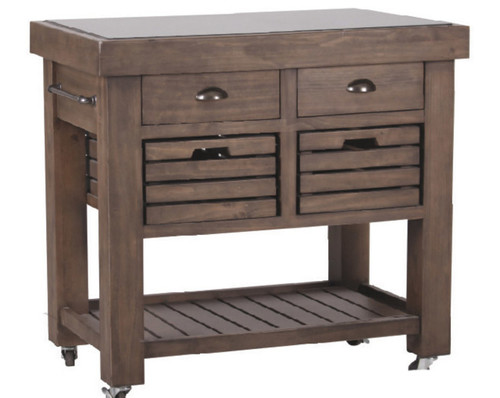 CANDARA WORK BENCH  WITH DRAWERS  & GRANITE TOP  - 950(W)   -  OLD WALNUT