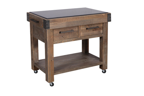 MELROSE WORK BENCH WITH 2 DOORS & 2 DRAWERS - HARDWOOD TOP - AGED PIER