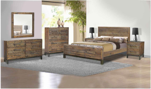 SHEFFIELD QUEEN  5  PIECE (DRESSER) BEDROOM SUITE  - RUSTIC BARN