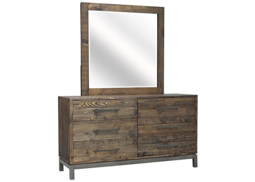 SHEFFIELD  6 DRAWER  DRESSING TABLE & MIRROR  WITH METAL LEG / SUPPORT - RUSTIC BARN