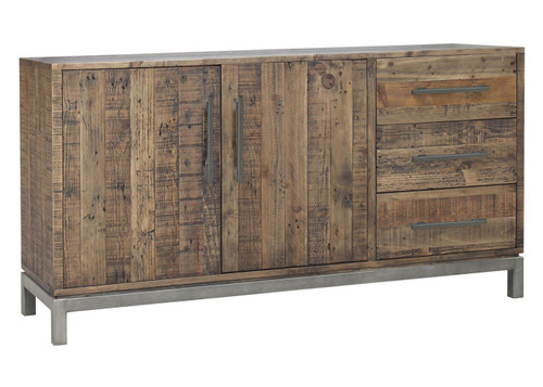 SHEFFIELD 2 DOOR / 3 DRAWER  BUFFET WITH METAL LEGS - 1700(W)  - RUSTIC BARN