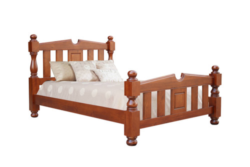 KING FEDERATION  SOLID TIMBER BED FRAME  - LIGHT MAHOGANY