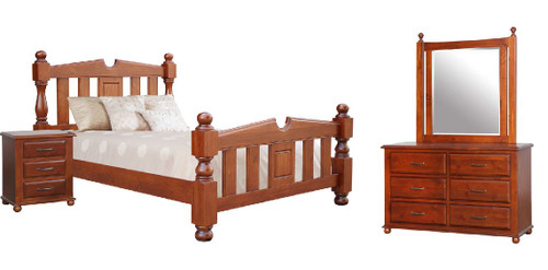 FEDERATION QUEEN 5 PIECE (DRESSER) BEDROOM SUITE  - LIGHT MAHOGANY