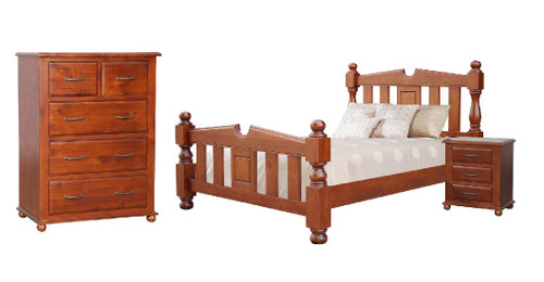 FEDERATION QUEEN 4 PIECE (TALLBOY) BEDROOM SUITE  - LIGHT MAHOGANY