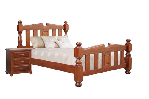 FEDERATION QUEEN 3 PIECE (BEDSIDE) BEDROOM SUITE  - LIGHT MAHOGANY
