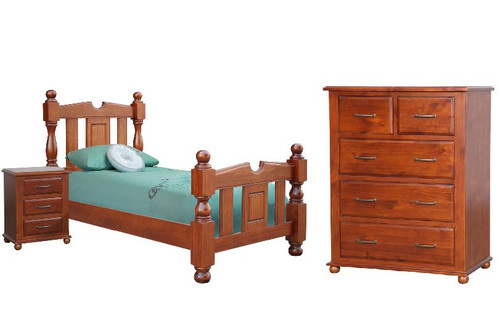 FEDERATION SINGLE OR KING SINGLE 3 PIECE  BEDROOM SUITE  - LIGHT MAHOGANY