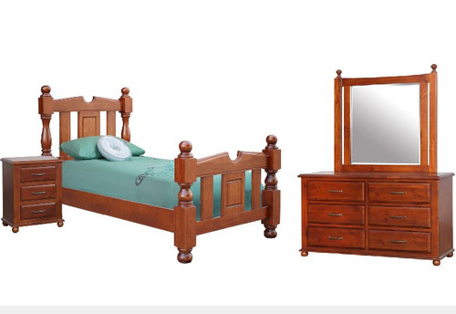 FEDERATION SINGLE OR KING SINGLE 4  PIECE  BEDROOM SUITE  - LIGHT MAHOGANY
