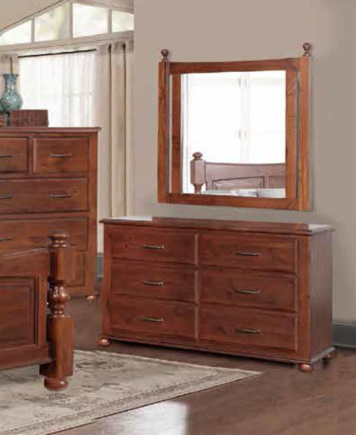 DERBY  6 DRAWER DRESSING TABLE WITH MIRROR  - LIGHT MAHOGANY