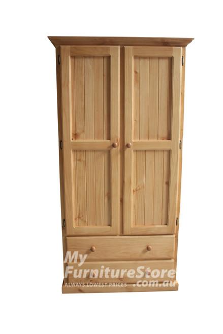 MUDGEE WARDROBE 2 DOOR / 2 DRAWER (NO DOOR ARCH) - 1890(H) X 900(W) - ASSORTED COLOURS