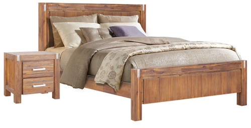 DOUBLE  MATRIX  HARDWOOD  BED FRAME ONLY - DESERT SAND