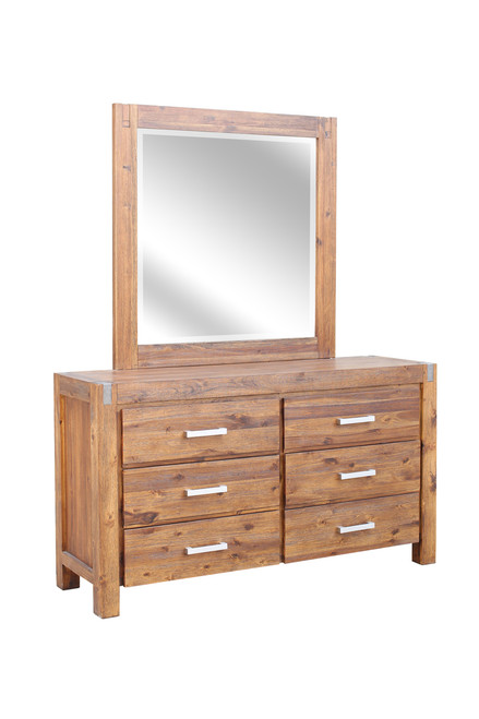 MATRIX 6 DRAWER DRESSING TABLE & MIRROR  - DESERT SAND