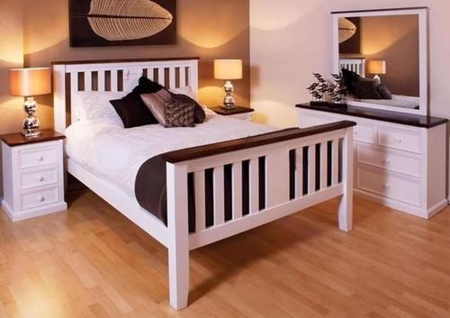 JANE DOUBLE OR QUEEN 4 PIECE (TALLBOY) BEDROOM SUITE - WHITE / WALNUT TOP