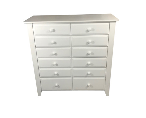 MANILLA TALLBOY WITH 12 DRAWERS - 1200(H) X 1200(W) - WHITE , ANTIQUE WHITE , WHITEWASH & BRUSHED COLOURS