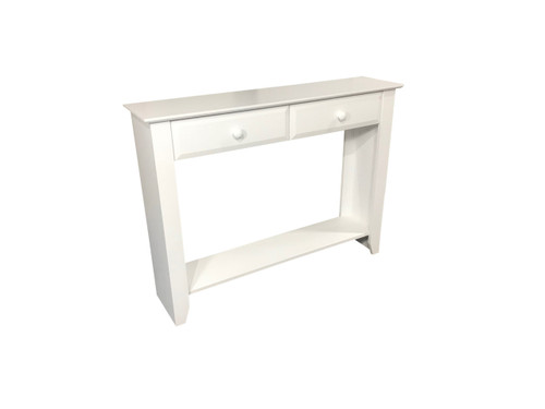 MANILLA HALL TABLE / CONSOLE WITH 2 DRAWERS & MAGAZINE RACK - 900(H) X 1200(W) - WHITE, ANTIQUE WHITE, WHITEWASH & BRUSHED COLOURS