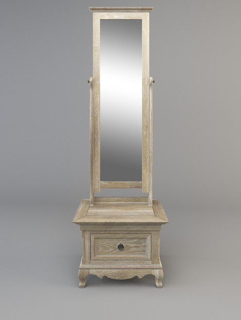 FABIAN CHEVAL MIRROR WITH ONE DRAWER  -  OFF WHITE