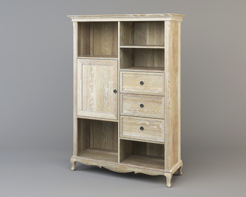 FABIAN  GENTLEMEN CHEST  WITH 3 DRAWER / 1 DOOR & 5 SHELVES  - LIME WIRE SOLID OAK