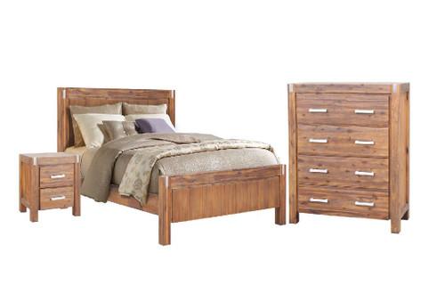 MATRIX DOUBLE OR QUEEN 4 PIECE (TALLBOY) BEDROOM SUITE - DESERT SAND