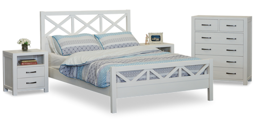 FRENCH COAST  DOUBLE OR QUEEN  4  PIECE TALLBOY BEDROOM SUITE  - WHITE
