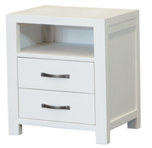 FRENCH COAST  BEDSIDE TABLE WITH 2 DRAWERS  - WHITE