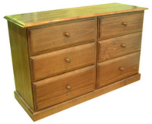 YORK / DRAGON (AUSSIE MADE) TIMBER LOWBOY WITH 6 DRAWERS - 750(H) x 1200(W)-ASSORTED COLOURS