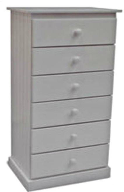 MUDGEE (AUSSIE MADE) NARROWBOY WITH 6 DRAWERS 1200(H) x 600(W) - WHITE